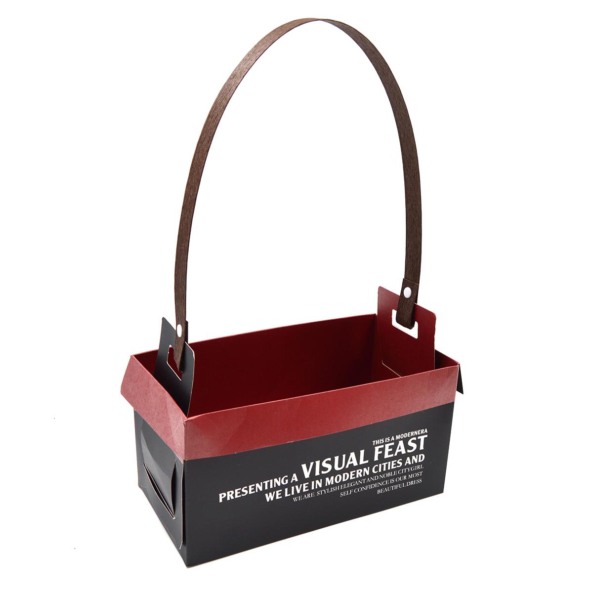 Set 10 cutii pliabile in 4 variante cu maner si mesaj grena