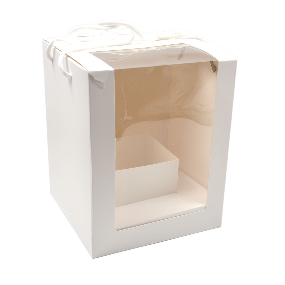 Set 5 cutii pliabile cu suport central si manere alb