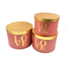 Set 3 cutii rotunde mari roz cu LOVE auriu