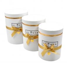 Set 3 cutii cilindrice flower cu nedalion alb