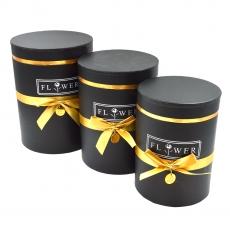 Set 3 cutii cilindrice flower cu nedalion negru