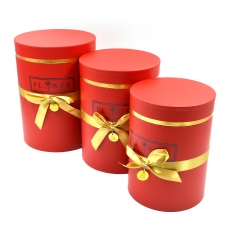 Set 3 cutii cilindrice flower cu nedalion rosu