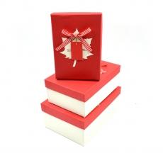 Set 3 cutii dreptunghiulare Canada crem cu rosu
