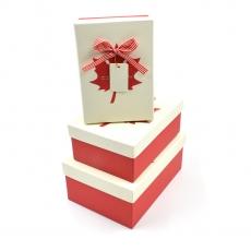 Set 3 cutii dreptunghiulare Canada rosu cu crem