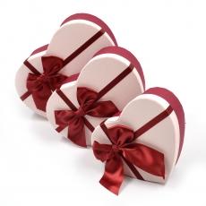 Set 3 cutii inima funda mare grena cu roz