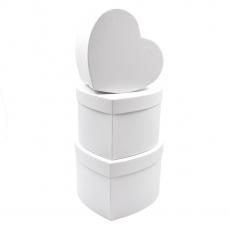 Set 3 cutii inima inalte neinscriptionate alb