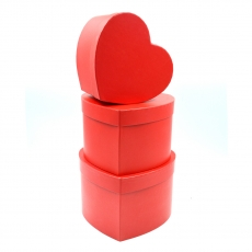 Set 3 cutii inima inalte neinscriptionate rosu