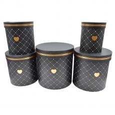 Set 5 cutii cilindrice mari negru