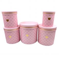 Set 5 cutii cilindrice mari roz